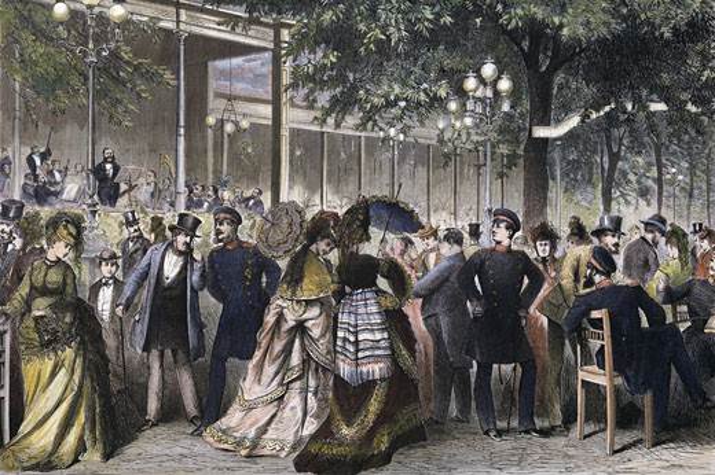Stock Photo: 463-4633 Evening Concert In The Kroll Garden 1872 Knut Ekvall (1843-1912 Scandinavian) Woodcut Print