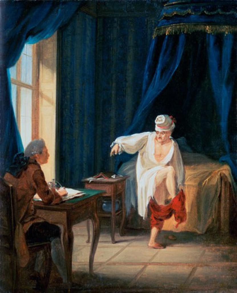 Le Lever de Voltaire Jean Huber (1721-1786 Swiss) Ferney-Voltaire Palace : Stock Photo