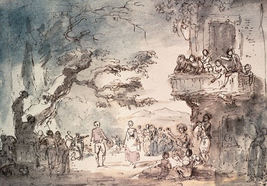 Dance In The Campagna Hubert Robert (1733-1808 French) Pen Drawing Musee du Louvre, Paris, France : Stock Photo