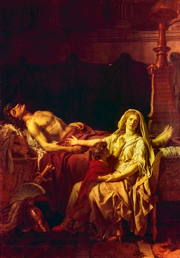 Andromache Mourning Hector,  by David Jacques-Louis,  1748-1825 French,  oil on canvas,  France,  Paris,  Musee du Louvre,  1783 : Stock Photo
