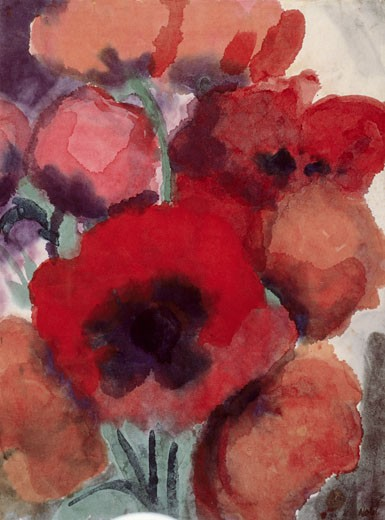 Poppy Emil Nolde (1867-1956 German) Watercolor Private Collection : Stock Photo