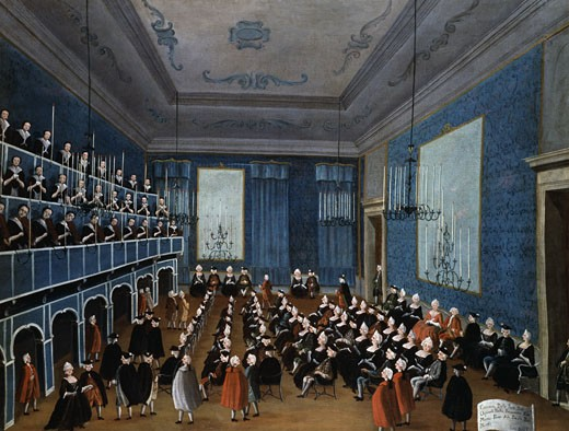 "Ladies' Concert in the Hall of the ""Filarmonici"" 1782 Gabriele Balla Oil On Canvas Pinacoteca Querini-Stampalia, Venice, Italy : Stock Photo"