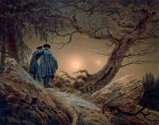 Stock Photo: 463-4855 Two Men Contemplating the Moon 