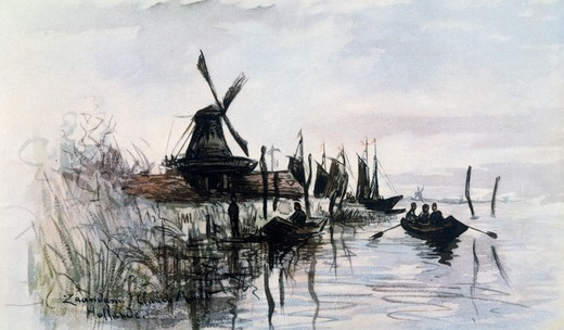 Stock Photo: 463-4858 Windmill in Zaandam near Amsterdam,  by Claude Monet,  1840-1926 French,  watercolour painting,  Private Collection,  1870/71