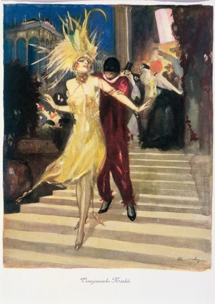 Venetian Nights (Fancy-Dress Ball) 1922 Ludwig Lutz Ehrenberger (1878-1950 German) Watercolor Ehrenberger-Album, Berlin, Germany : Stock Photo