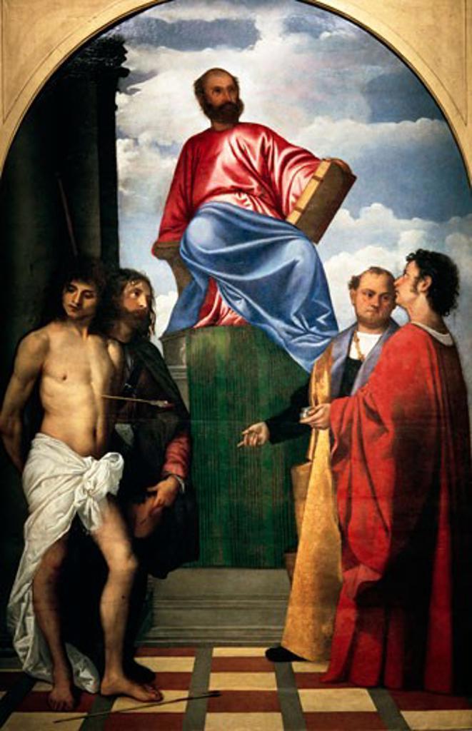 Stock Photo: 463-4950 St. Marcus on the Throne With St. Cosmos, Davian, Rochus Titian (Vecelli Tiziano) 1477/89-1575/Italian Santa Maria Della Salute Venice, Italy