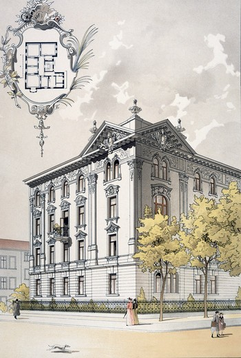 Apartment House in Munich,  architecture by Vogt and Neuhof,  colour lithograph,  1890 : Stock Photo