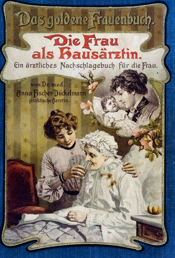 The Woman as Family Doctor,  nostalgia cards,  lithograph,  1903 : Stock Photo