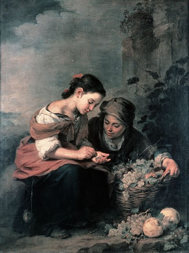 Stock Photo: 463-5074 The Little Fruit Dealer 1670 75 Bartolome Esteban Murillo (1617-1682 Spanish) Oil On Canvas Alte Pinakothek, Munich, Germany