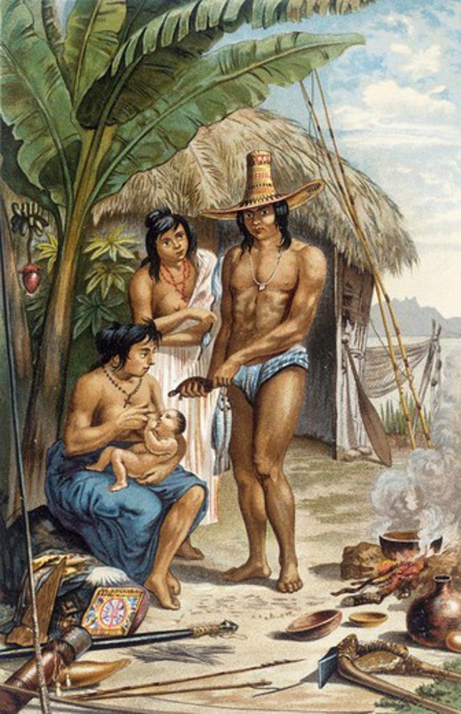 Stock Photo: 463-5088 East Brazilian Indio Family 1887 Moritz Rugendas (1802-1858 German)