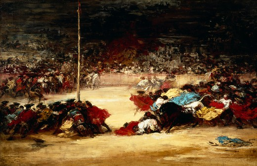 Stock Photo: 463-5089 The Bull-fight,  Francisco Goya y Lucientes,  1746-1828 Spanish,  oil on canvas,  USA,  Washington,  D.C,  National Gallery of Art,  1827