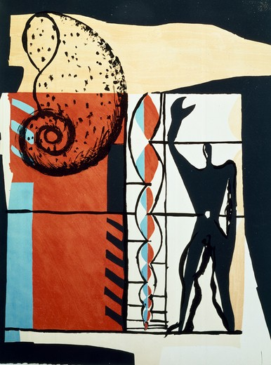 Stock Photo: 463-5173 B by Le Corbusier,  1887-1965 French,  Spain,  Madrid,  Galeria Carmen Bores,  20th century