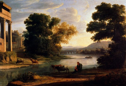 Stock Photo: 463-5184 Landscape With Shepherd by Claude Lorrain,  1600-1682 French,  oil on canvas,  1644,  Spain,  Madrid,  Museo del Prado,  17th century