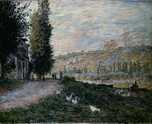Stock Photo: 463-5186 The Banks of the Seine at Lavacourt Claude Monet (1840-1926/French) Gemaldegalerie, Dresden, Germany