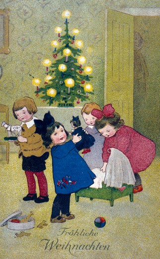 Merry Christmas,  artist unknown,  1910, : Stock Photo