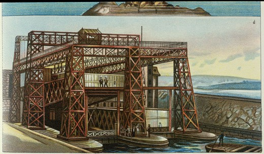 Stock Photo: 463-5277 Schiffshebewerk (At The Louviere At The Canal Du Centre, France, Built In 1887) Artist Unknown Color Lithograph