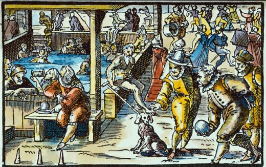 Stock Photo: 463-5278 Pleasures in the Curing Baths  16th C. Artist Unknown Colored wood engraving