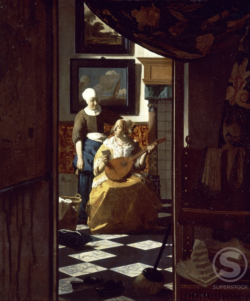 Stock Photo: 463-5323 The Love Letter 1669-1670 Jan Vermeer (1632-1675/Dutch) Oil on canvas Rijksmuseum, Amsterdam