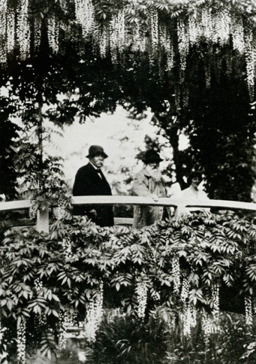 Monet with Georges Clemenceau & Lily Butler Claude Monet (1840-1926 French)  : Stock Photo