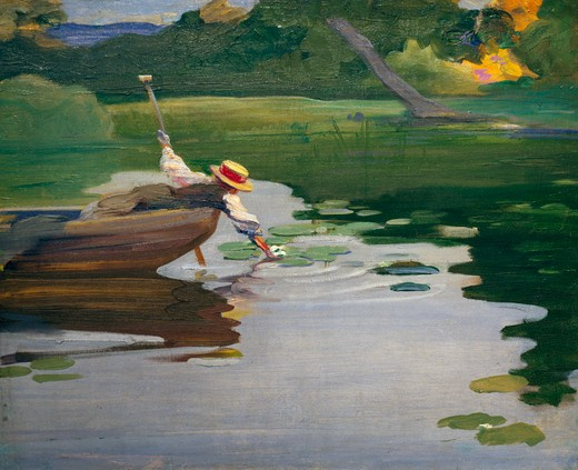 Girl in a Little Boat by Curt Herrmann,  1854-1929 German,  oil on canvas,  1897- 98, : Stock Photo