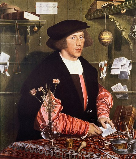 Stock Photo: 463-5544 The Trader George Gisze Hans Holbein the Younger (1497-1543 German) Gemaldegalerie, Dahlem-Berlin, Germany