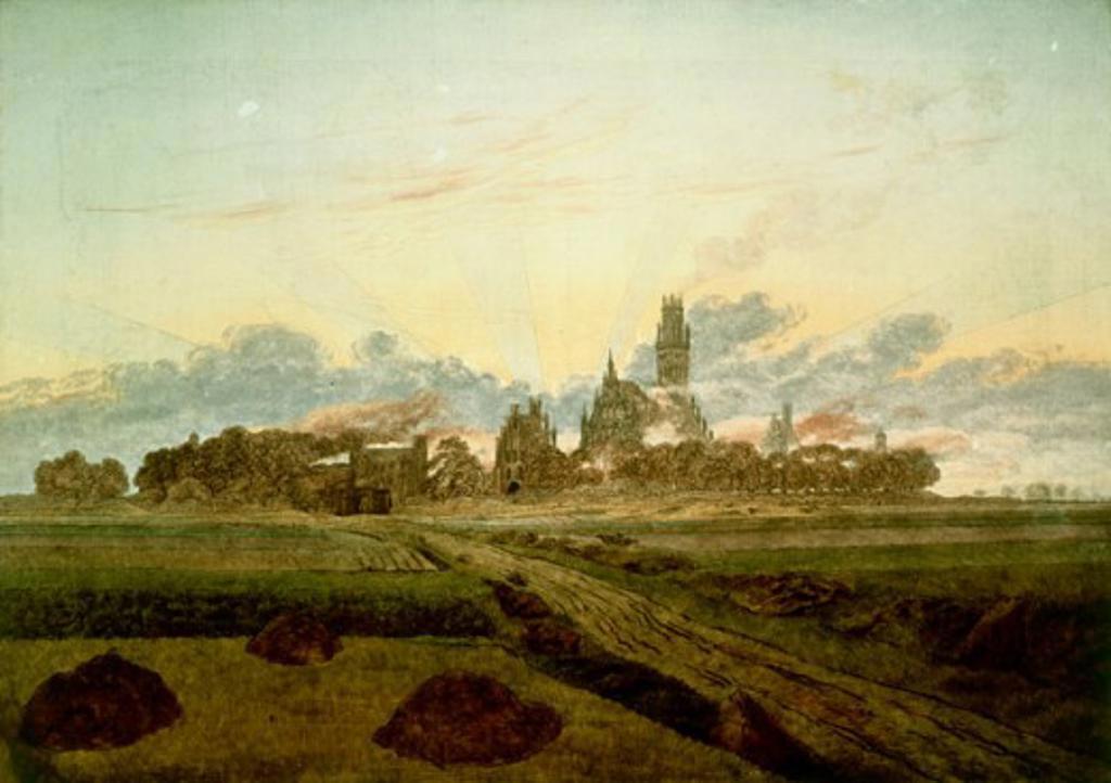 Stock Photo: 463-5546 Sunrise Near Neubrandenburg 1835 Caspar David Friedrich (1774-1840 German) Oil on canvas Kunsthalle, Hamburg, Germany