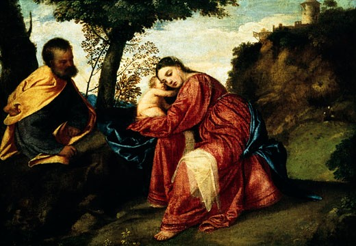 Stock Photo: 463-5572 A Rest During the Escape to Egypt Titian   (1485-1576/Italian) Oil on wood panel Longleat House, Wiltshire, England, Earl of Bath