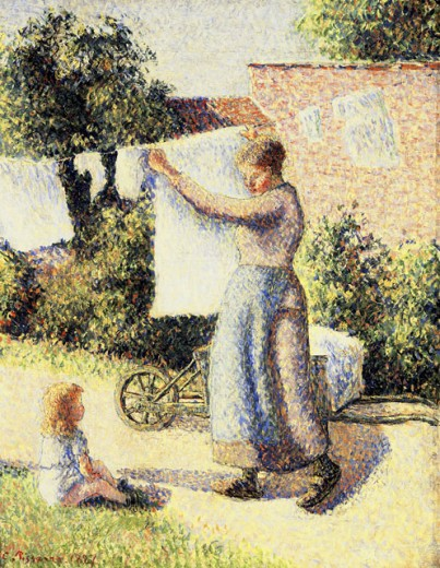 Stock Photo: 463-5617 Woman Putting Wash on the Line 