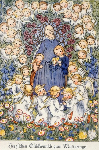 Stock Photo: 463-5627 Happy Mother's Day! by R. Busch- Schumann,  from Nostalgia Cards,  colored print after drawing,  circa 1940,  20th century