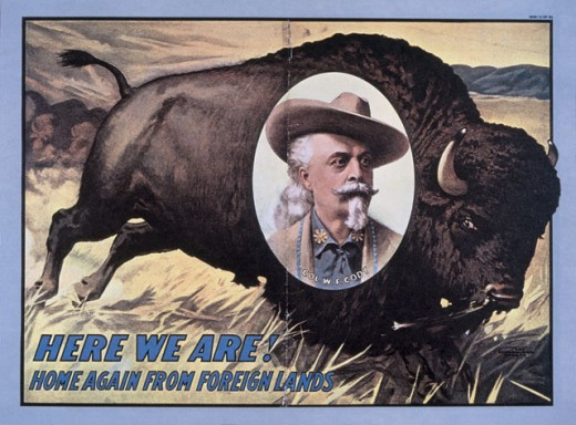 Stock Photo: 463-5663 Buffalo Bill - Here We Are! Home Again... 1908  Color lithograph