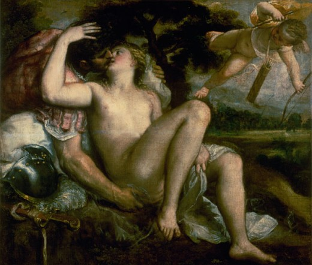 Mars, Venus, and Love  1560 Titian (ca.1485-1576 Italian) Oil on canvas Kunsthistorisches Museum, Vienna, Austria : Stock Photo