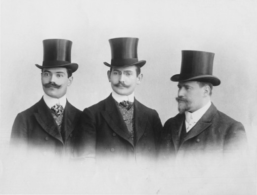 Close-up of three men, 1890 : Stock Photo