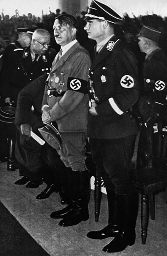 Hitler and Rudolf Hess at the opening of the National Socialist German Workers' Party, Nuremberg, Germany, 1933 : Stock Photo