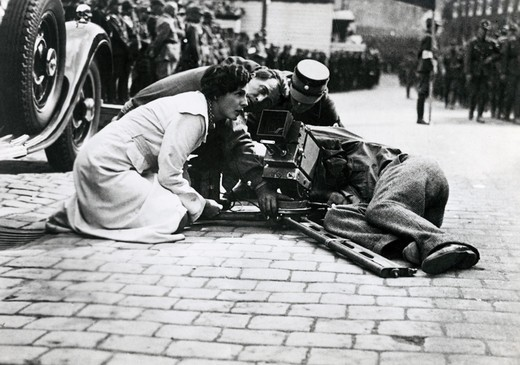 Actress Leni Riefenstahl during the shooting of a movie to be shown at the National Socialist Party Conventio, Germany, 1934 : Stock Photo