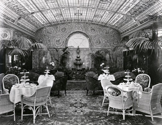 Winter Garden in cruise ship, Cap Arcona, 1927 : Stock Photo