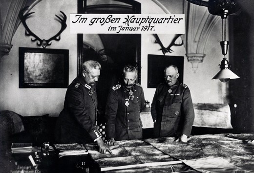 Kaiser Wilhelm II, Paul von Hindenburg and Erich Ludendorff at main headquarters, Germany, January, 1917 : Stock Photo