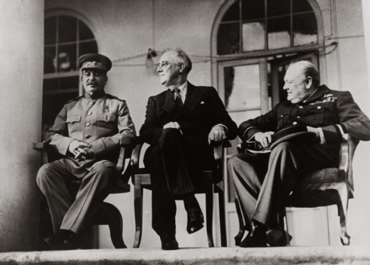 Stock Photo: 463-6079 Joseph Stalin, Franklin D. Roosevelt and Winston Churchill, Tehran Conference, Iran, 1943