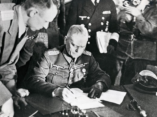 Field Marshal W. Keitel signs the Document of Surrender at the Soviet Headquarters, Berlin, Germany, May 8, 1945 : Stock Photo