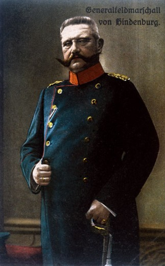German Field Marshal Paul von Hindenburg, (1847-1934), Colored Photo Postcard, C.1917 : Stock Photo