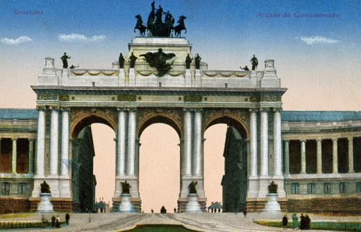 Stock Photo: 463-6265 Facade of a triumphal arch, Le Cinquantenaire, Brussels, Belgium, C. 1900