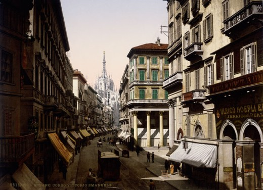 Buildings along a road, Corso Vittorio Emanuele, Milan, Italy, c. 1890 : Stock Photo