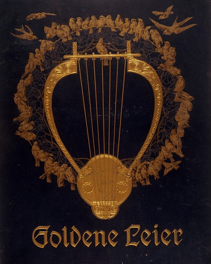 Stock Photo: 463-6388 Golden Lyre - book cover of music print,  artist unknown,  linen and gold stamping,  circa1890,  19th century