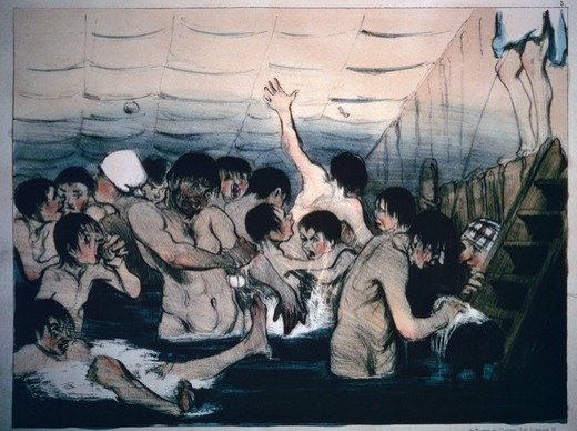 Stock Photo: 463-6474 Seine River...the Parisians Crave the Cool and Cleanness of the Water to Escape the Summer's Heat by Honore Daumier,  1808-1879 French,  color lithograph,  1839-1842