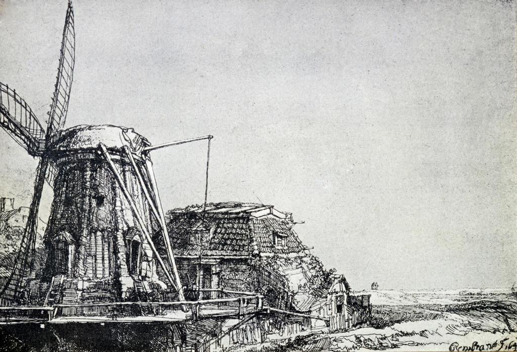 Stock Photo: 463-6490 Windmill by Rembrandt Harmensz van Rijn,  1606-1669 Dutch,  etching,  1641