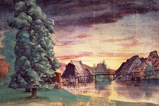 Stock Photo: 463-6541 Willow Mill by Albrecht Durer,  1471-1528 German,  watercolor and bodycolour,  France,  Paris,  Bibliotheque Nationale,  1498-1500