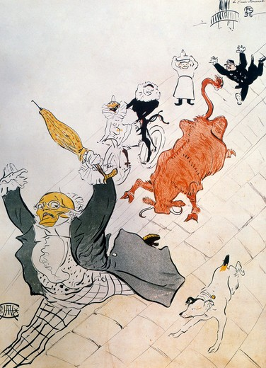 Enraged Cow by Henri de Toulouse-Lautrec,  1864-1901 French,  pen and ink,  France,  Albi,  Musee Toulouse-Lautrec,  1896 : Stock Photo