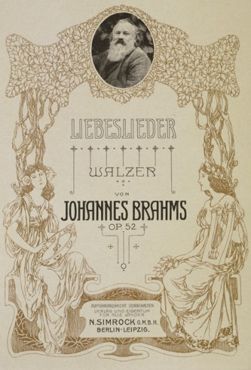 "Music Print of the Piano Edition for Four Hands for ""Liebeslieder-Walzer"" by Johannes Brahms