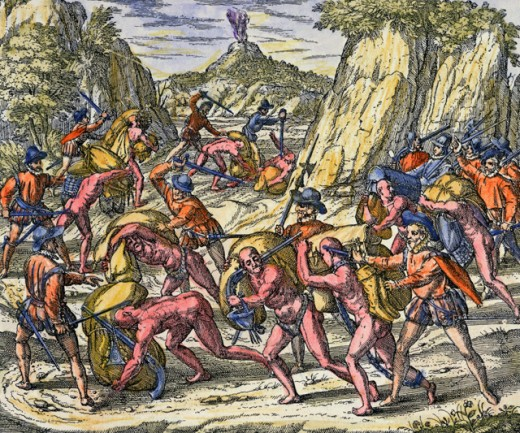 Stock Photo: 463-6651 The Spanish Treat the Indians Very Tyrannically (Conquest of Peru by Spanish Under Pizarro, 1529)