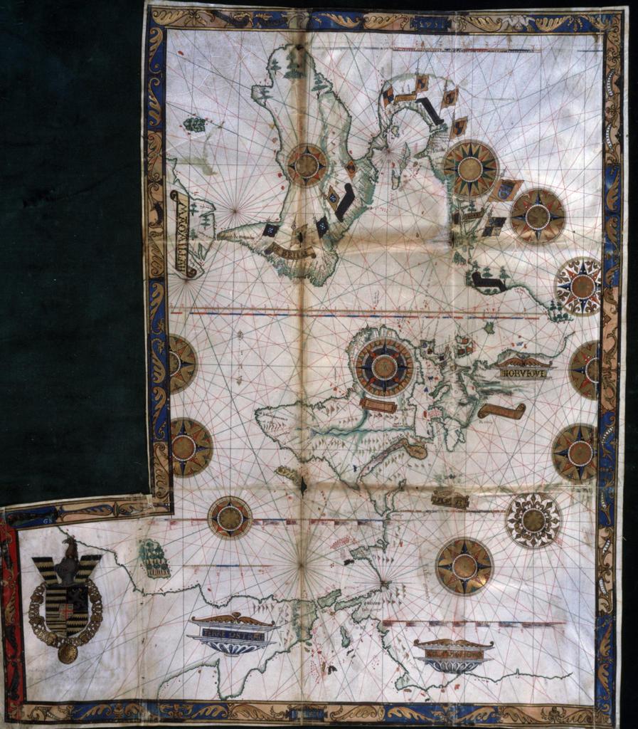 Stock Photo: 463-6663 Detail of World Map,  mixed media,  Turkey,  Istanbul,  Topkapi Museum,  before 1513