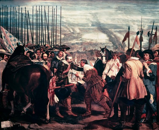 Surrender of Breda by Diego Velazquez,  1599-1660 Spanish,  oil on canvas,  Spain,  Madrid,  Museo del Prado,  1635 : Stock Photo
